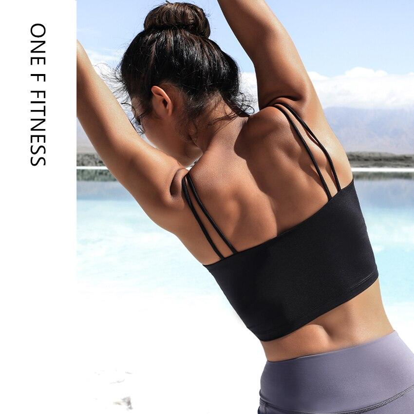Camisas de entrenamiento para mujer, Top corto de gimnasia con doble correa para el hombro, ropa deportiva para acondicionamiento físico con relleno Sexy para danza, camiseta ajustada para Yoga 2019