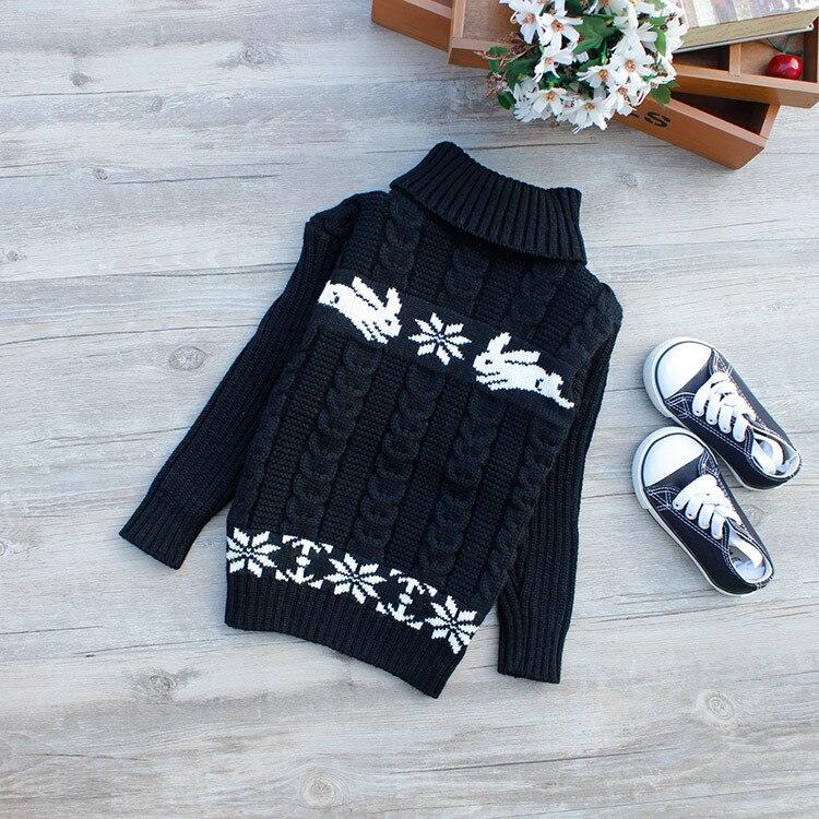 Gola alta quente outerwear meninos camisola dos desenhos animados do bebê meninas camisola jumper outono inverno crianças pulôveres de malha roupas