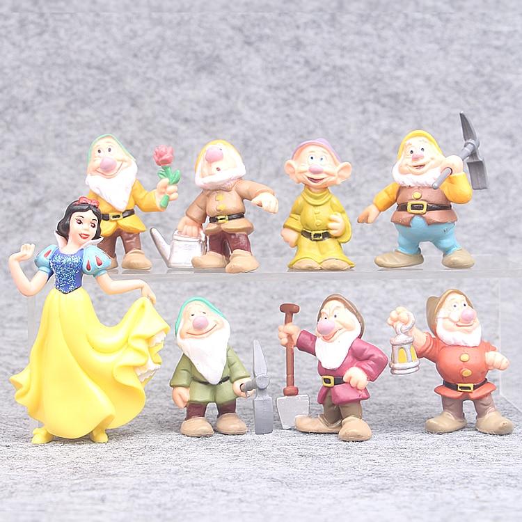 8 unids/set Blanca Nieves y los siete enanitos figura de acción juguetes 6-10cm princesa muñecas PVC colección de juguetes para niños de regalo