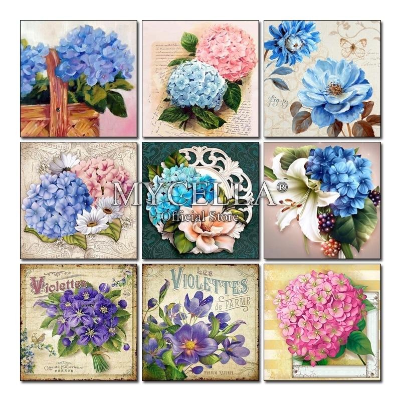 Hydrangea, pintura de diamantes 5D redonda completa, bordado de flores, punto de cruz, mosaico de diamantes, decoración para el hogar, punto de cruz, diamantes de imitación