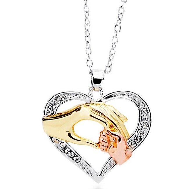 مخصص 120 قطعة/الوحدة أمي الأم هدية كبيرة اليد عقد اليد الصغيرة تصميم القلب المعلقات القلائد مطلي مع الوردي الذهب والمجوهرات