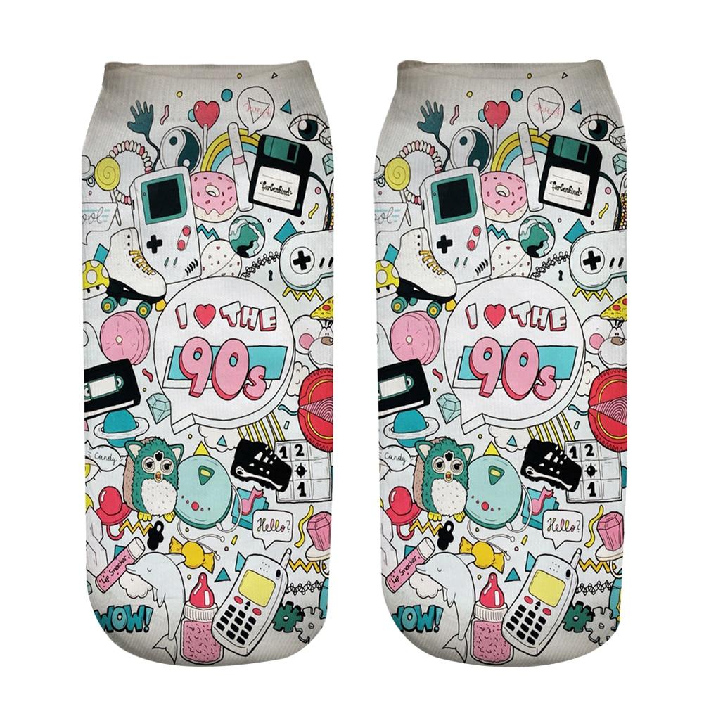 New 3D Impressão Meias Eu Amo O 90s Mulheres Meias bonito da Peúga Do Tornozelo Tipo de Vários Desenhos Animados Ocasional Adolescente de Impressão Telefone meias