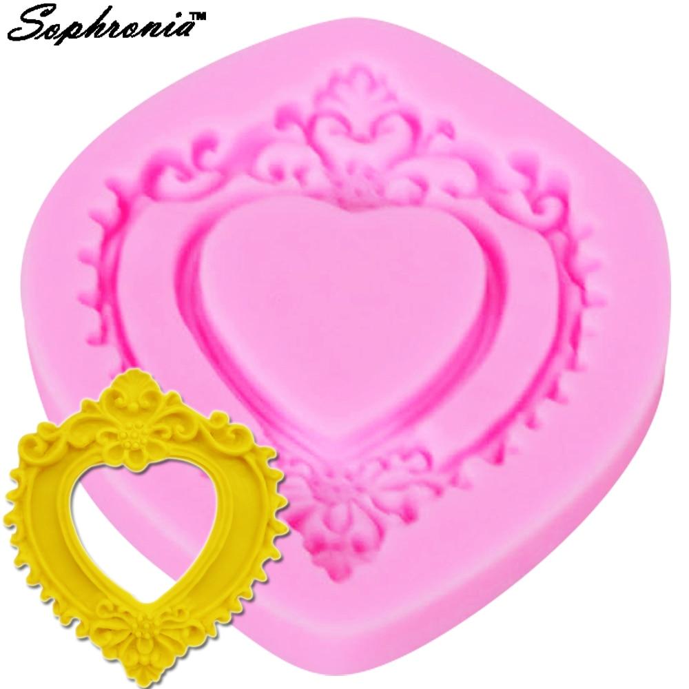 Sophronia 3D marco espejo amor en forma de molde de silicona DIY para Fondant pastel decoración hornear molde encantador M677
