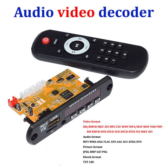 Placa de decodificador de vídeo estéreo diy caixa de tv rm/rmvb flac ape bt ebook módulo de decodificação de áudio mp3 aux cvbs ddr2 u disco & tf usb fm