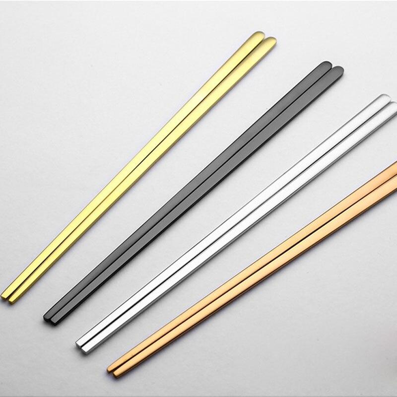 1 Par de Titânio de Aço Inoxidável 304 Chapeamento Plana Sólida Jantar Chopsticks Chop Sticks Chinês Talheres Jogo de Jantar Portátil