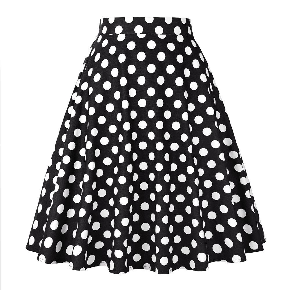 2019 mujeres Polka Dot Big Swing faldas de verano de alta cintura Sexy Pinup 50S 60S Vintage Rockabilly Falda Skater Midi faldas de talla grande