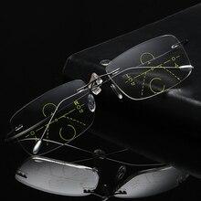 Gafas de lectura multifocales progresivas sin montura de titanio, gafas de transición para hombre, gafas de presbicia hipermetropía reada