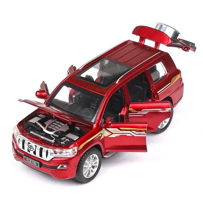 2019 nuevo modelo 1/32 PRADO simulado-vehículo de carretera en miniatura 6 abrir puertas de sonido y luz función ECO juguete coche niños colección