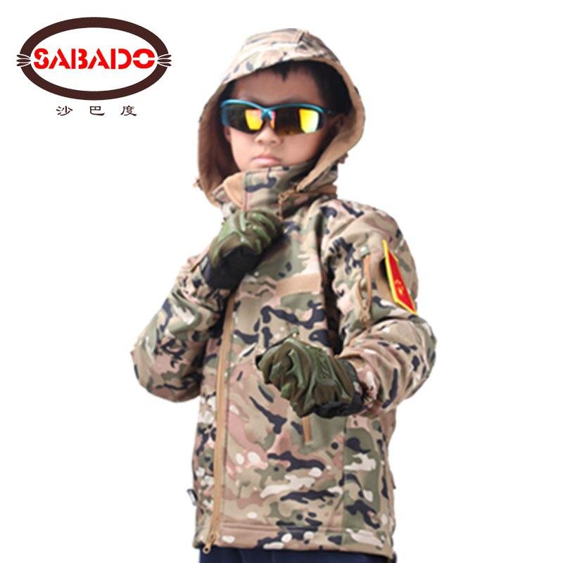 Camuflaje al aire libre impermeable niños TAD táctico Piel de tiburón Softshell caza chaqueta niños ejército ropa