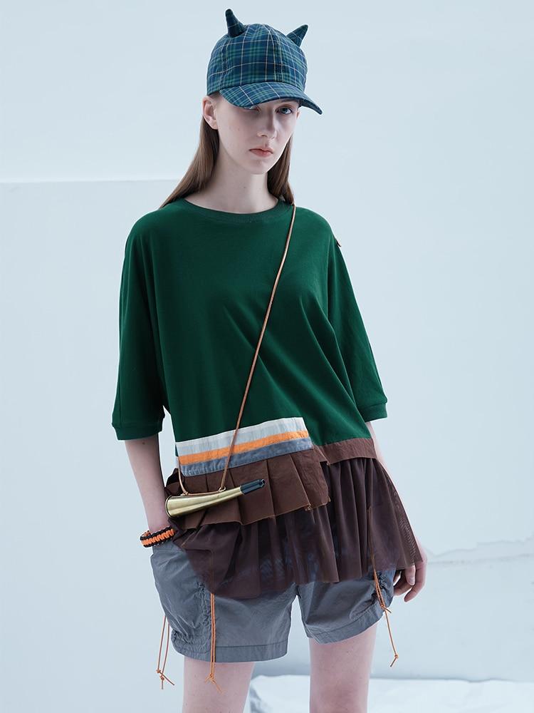 IRINAY175 2019 ss colección diseño original tul patchwork camiseta de gran tamaño para mujer