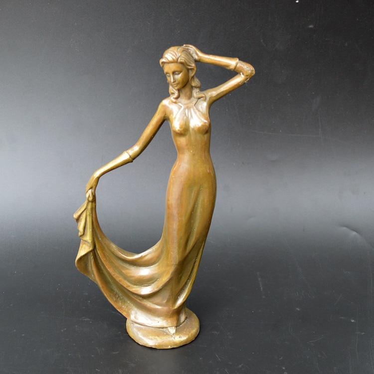 Bronce caracteres occidentales, estatua de bronce belleza, falda adorno.