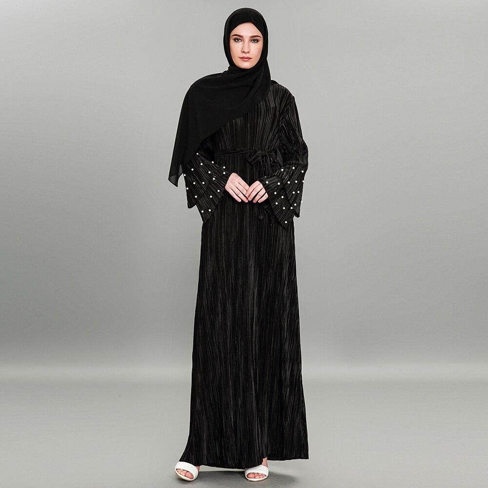 Europa y Medio Oriente Moda musulmana musulmán plisado Vestido de manga larga con cuentas 1591