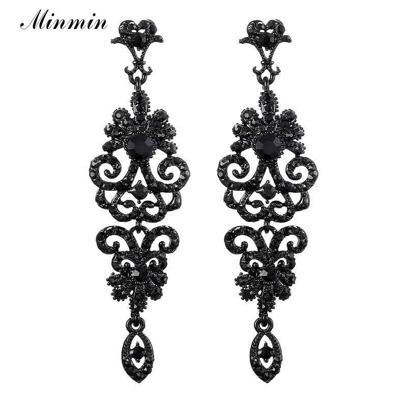 Minmin Vintage noir longue goutte lustre boucles doreilles pour femmes or/argent couleur strass boucles doreilles bijoux de mariage MEH948