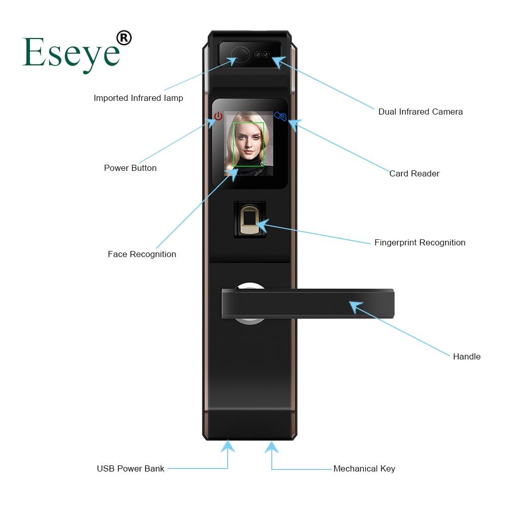 Eseye-قفل إلكتروني ذكي مع بصمة الإصبع والوجه وشاشة تعمل باللمس بدون مفتاح
