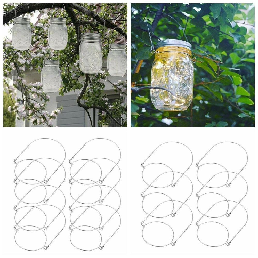 12/24 punhos de aço inoxidável do fio do gancho do frasco de pedreiro dos pces para o mini recipiente de vidro da garrafa frascos de conservas homedecoration