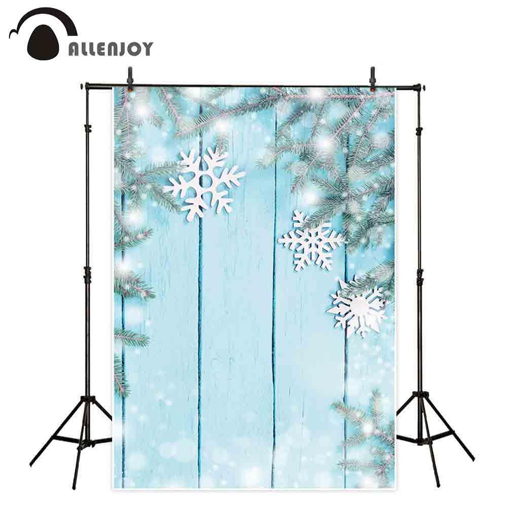 Fondo Allenjoy para la foto de Navidad Madera azul pared copo de nieve bokeh decoración brillante sesión fotográfica telón de fondo para la foto