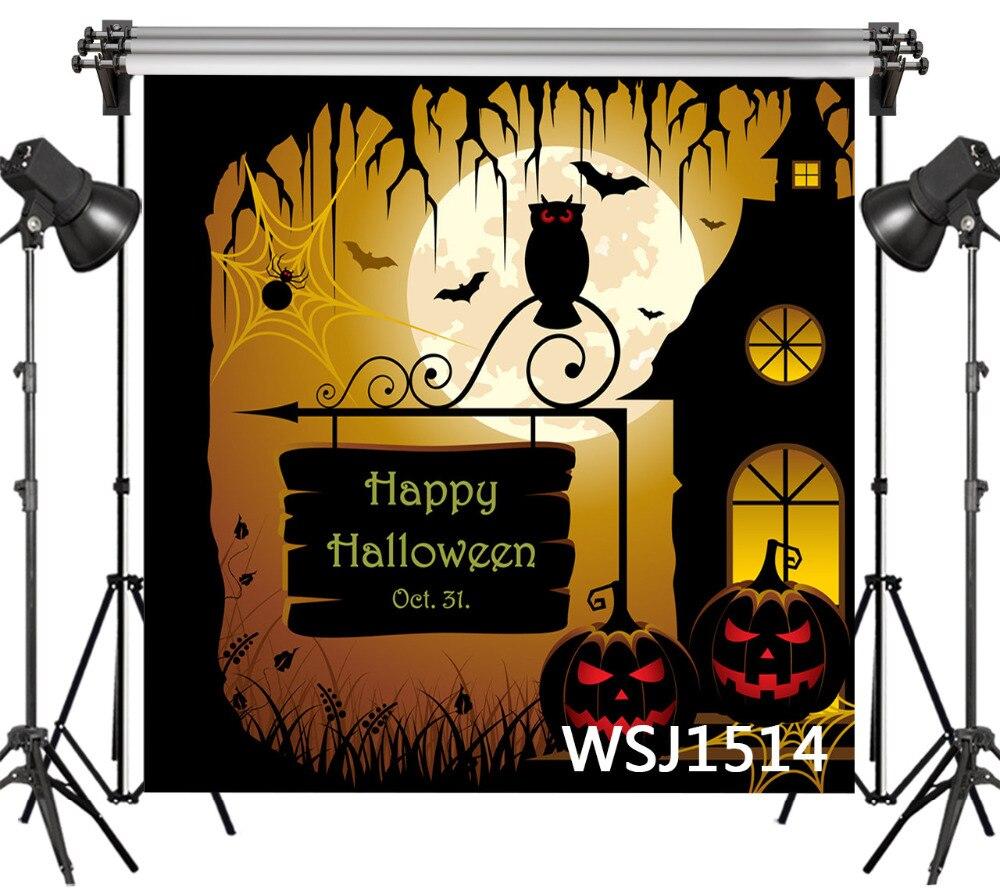 LB Poliéster & Vinil Halloween Red-eyed Owl Lua Cheia Ramo Estúdio Cenário Foto Fotografia Adereços Fundo Fotográfico