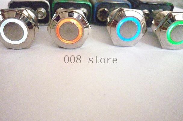 interruptor de botao de controle de acesso do metal de 16mm lampada conduzida da