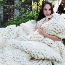 Hilo grueso suave hilo gigante manta de punto tejido a mano accesorios de fotografía mantas CrochetLlinen suave, de punto mantas