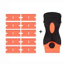 EHDIS Автомобильная наклейка, скребок для бритвы + 10 шт. пластиковых лезвий для бритвы, виниловая углеродистая пленка для удаления клея, Швабра для окон, Очистка Стекла