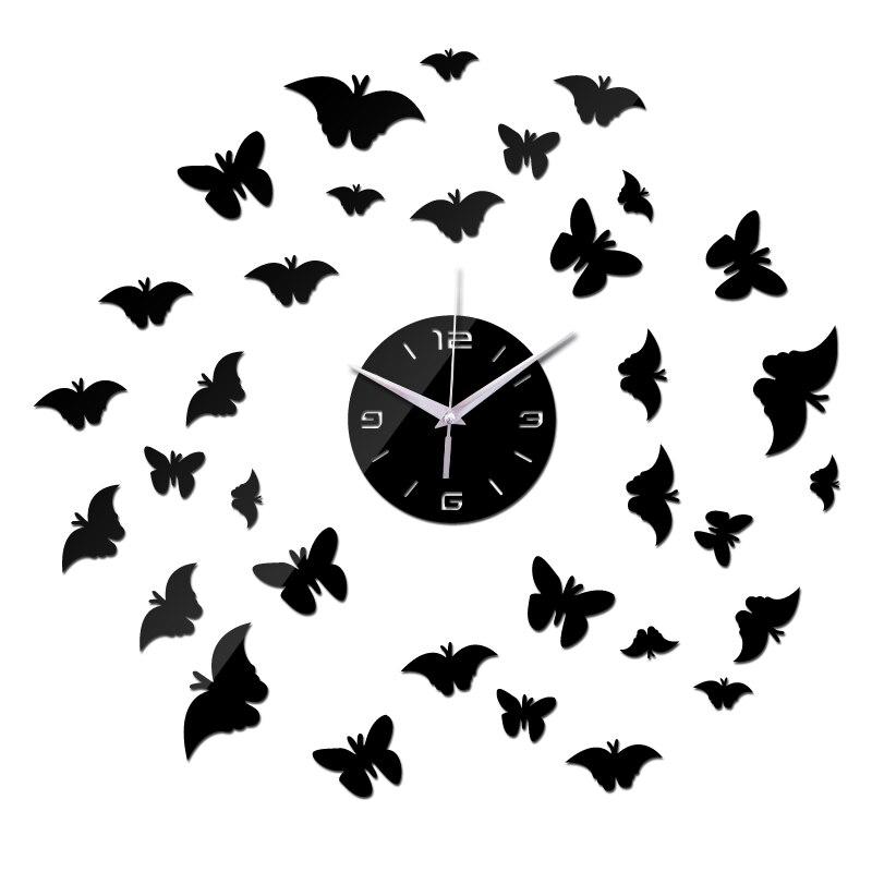new sale diy wall stickers clock home decor living room acrylic mirror butterfly sticker modern style 3d clocks