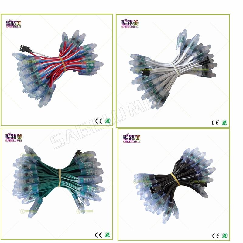 500 stücke DC5V /DC12V 12mm ws2811 ic Led-modul Schwarz/Grün/Weiß/RWB Drähte String weihnachten led Pixel licht; address; wasserdicht