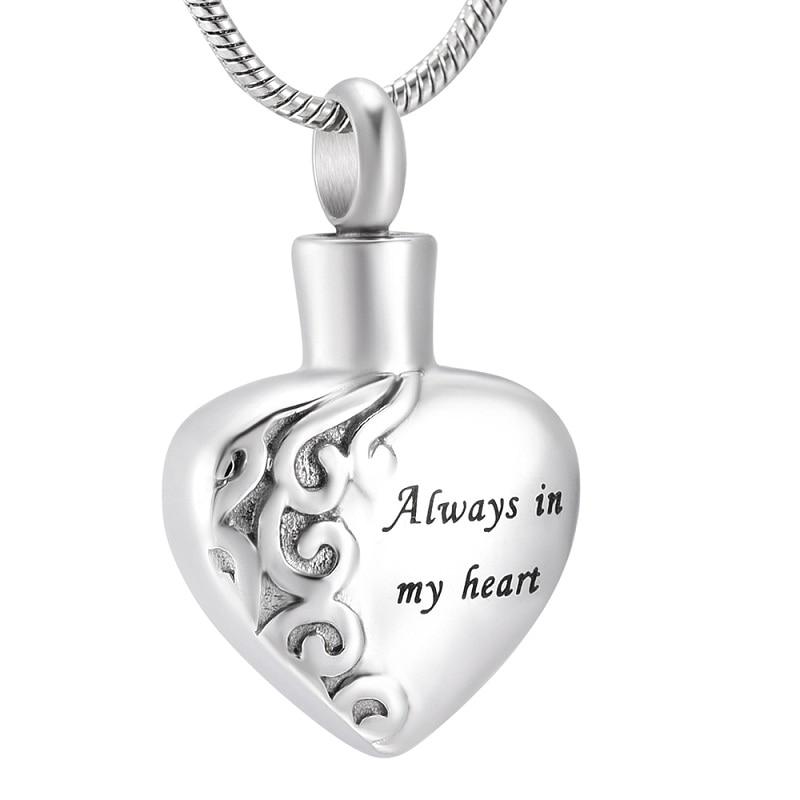 IJD10021 6 diferentes diseño siempre en mi cremación del corazón colgante de urna collar recuerdo conmemorativo ceniza para joyas