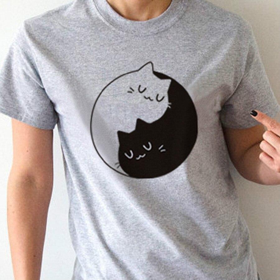 Camiseta gatitos Unisex de gatos taichi Yin Yang camiseta gris de manga corta para Mujeres Hombres Harajuku de algodón Kawaii ropa de calle Casual