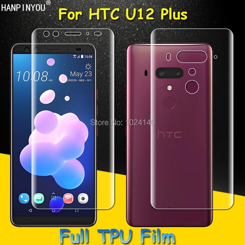 Przód/tył pełne pokrycie przezroczysta miękka TPU folia ochronna na ekran do HTC U12 Plus U12 +, pokrywa zakrzywione części (nie hartowane szkło)