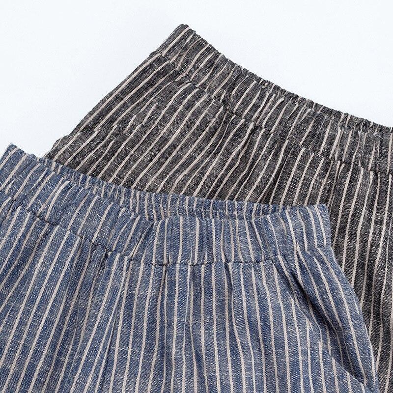 High Quality Literary Harem Casual Stripes Calf-Length Pencil Pants Thin Cotton Linen Women Female Spring Summer All-Match QW