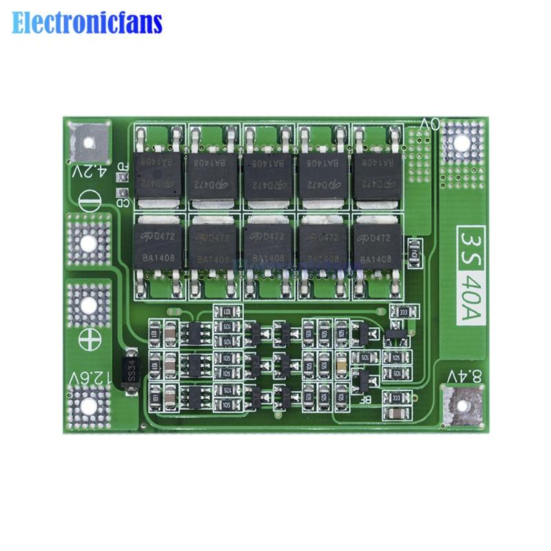 3S 40A литий-ионный аккумулятор зарядное устройство Защитная плата PCB BMS для 40A электродвигатель тока 11,1 V 12,6 V модуль Lipo Cell Enhanced