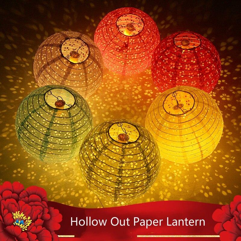 20cm 25cm 30cm 40cm hueco chino redondo linterna de papel lampion de Navidad boda, Halloween fiesta casa jardín decoración