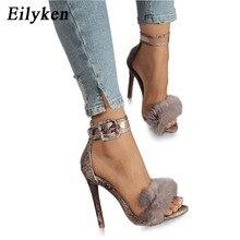 Eilyken femmes été sandales à talons hauts léopard fourrure carré chaussures à talons hauts femme bride à la cheville boucle sandale taille 35-42