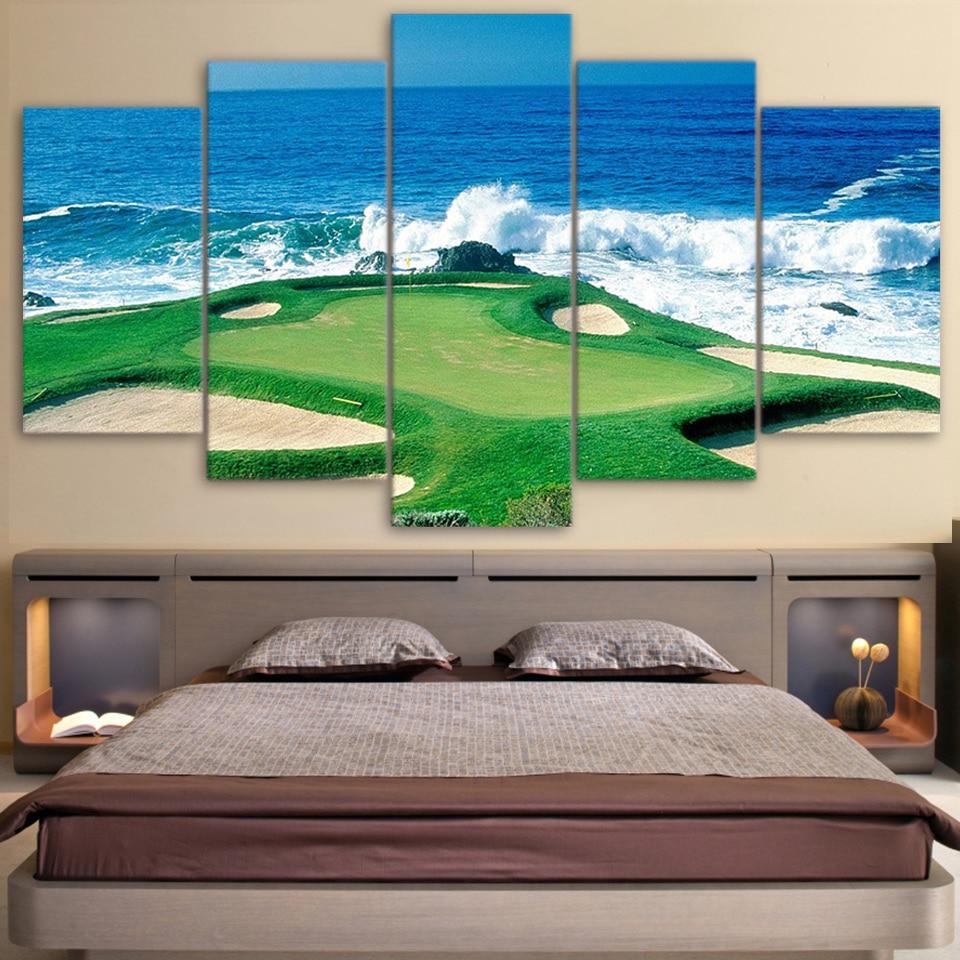 Tela Sala Pictures Art Poster 5 Painel Modular Campo de Golfe Costa Pintura Quadro de Parede HD Impresso Modern Home Decor