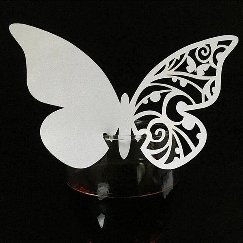 10 colores 50 Uds. Corte láser de mariposa regalo Mesa marca copa de vino nombre tarjetas lugar boda cumpleaños Baby Shower elementos de recordatorio para fiestas