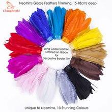 CHENGVRIGHT-garnitures en plumes doie 10 Yards/Lot   Rubans en plumes doie teintées, 15-18cm, franges en tissu, ceinture décorative, bricolage, vente en gros