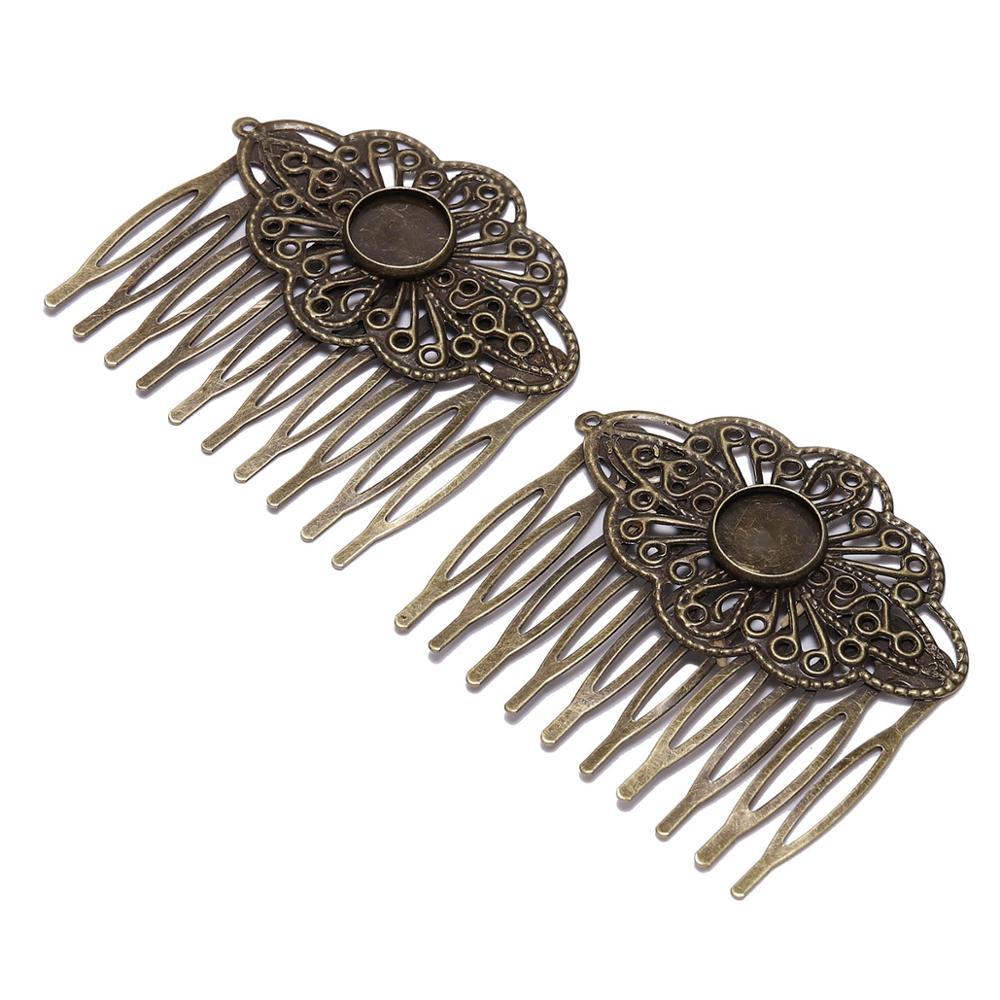 Pinces à cheveux en métal Bronze, peigne à cheveux, Cabochons en verre pour la fabrication de bijoux, accessoires, bricolage, 12mm, 5 pièces