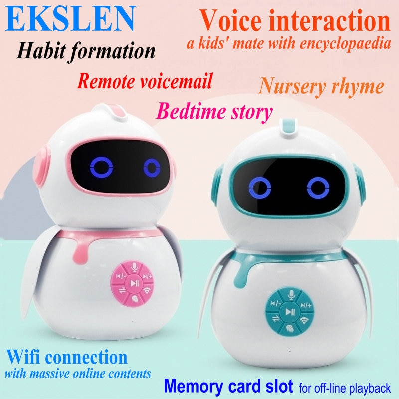 EKSLEN الروبوت الذكية التعليم المبكر آلة الذكية الأطفال بالنيابة صوت التفاعل الروبوت Wifi لعبة طفل التعلم قصة آلة