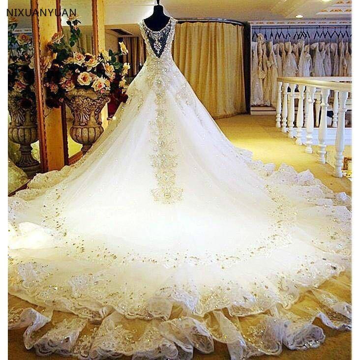 فستان زفاف من الدانتيل الملكي ، مقاس كبير ، فاخر ، زهور اللؤلؤ ، ثوب الكرة ، 2021