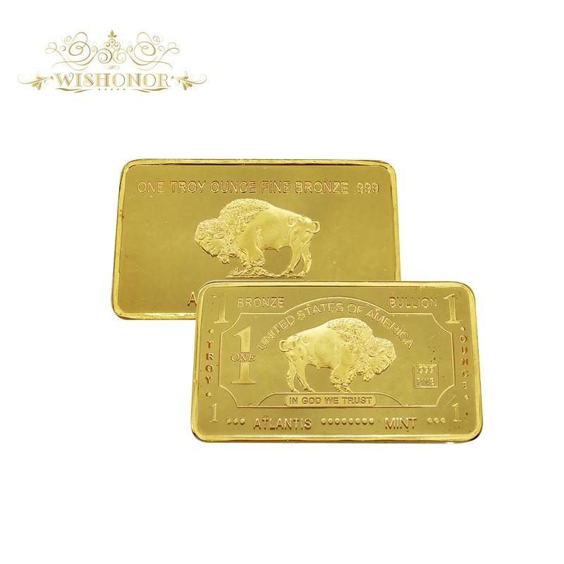 24k Pure Gold Bullion Bar Buffalo U.S Dollar 1 Troy OZ Fine Bronze Gold Bullion Bar Ingot buy