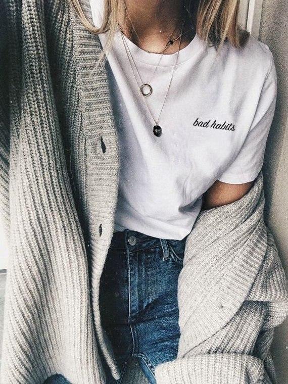 Женская футболка с надписью «Bad привычки», модные забавные хлопковые футболки с надписью «grunge tumblr goth», топы для вечеринок в уличном стиле, винтажная рубашка