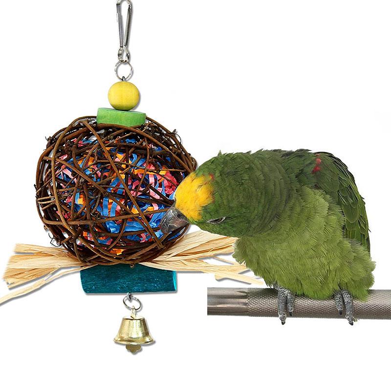 Loro Columpio de madera color de juguete Bola de ratán CAMPANA PARA mordedura juguete protección del medio ambiente no se cae pintura accesorios para jaulas de pájaros
