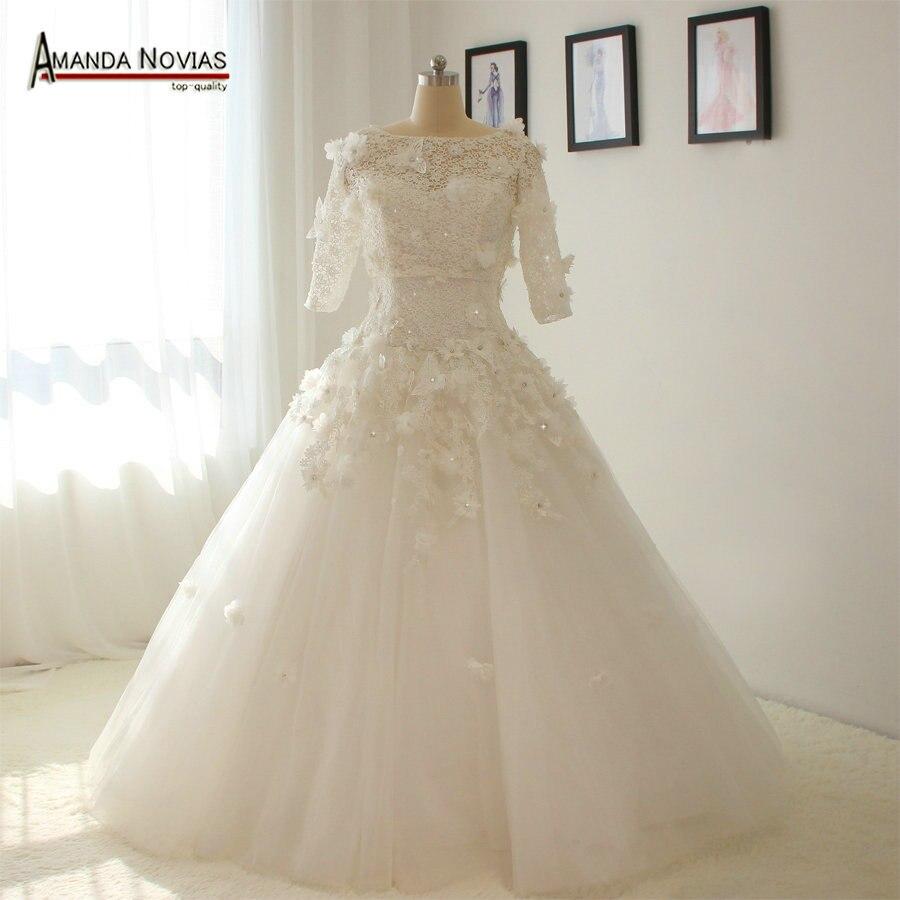 Vestido de novia de encaje sin tirantes sin tren con chaqueta de media manga NS1359
