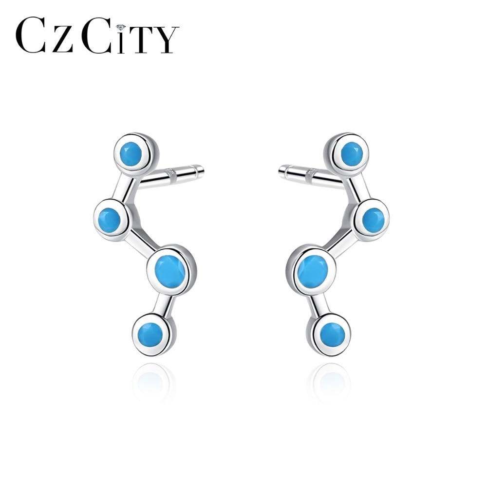 Pendientes de tuerca CZCITY coreanos de Plata de Ley 925 Azul Pequeño de circonio cúbico para mujer, pendientes de moda de línea geométrica, joyería fina