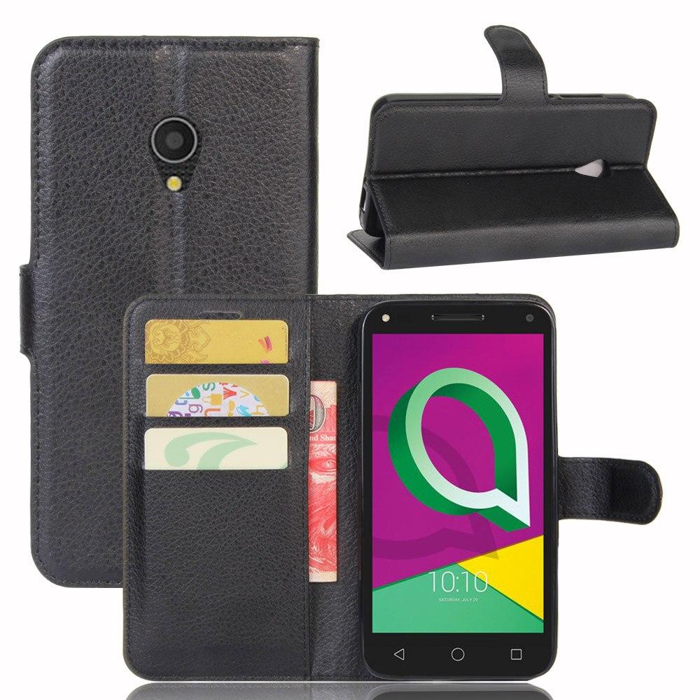 Para Alcatel U5 3g Caso 5.0 Premium PU Slots de Cartão Carteira de Couro Stand Case Para Alcatel U5 3g versão 4047D 4047 U5 4g 5044D HD