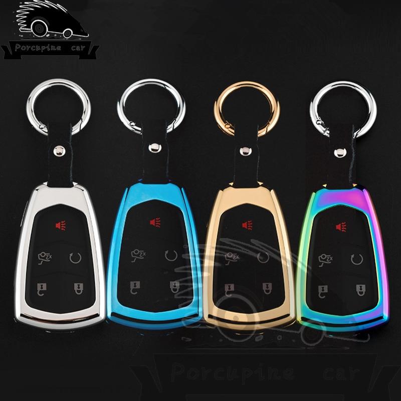 Carcasa para llave de coche de alta calidad con cadena de aleación de Zinc + funda para llave de cuero para Cadillac SRX 2015 2016 ATS CTS CT6 XT5 XTS