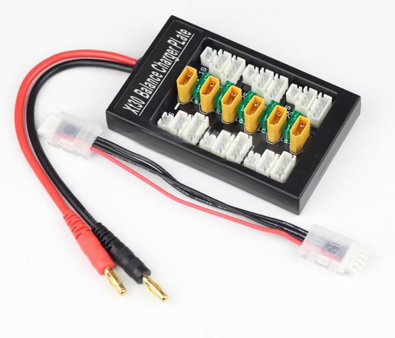 Placa de cargador de equilibrio XT30 1 S-3 S XT30 enchufe paralelo descargador 6in1 Lipo Placa de carga de batería adaptable con SKYRC B6/UNA6 ISDT Q6