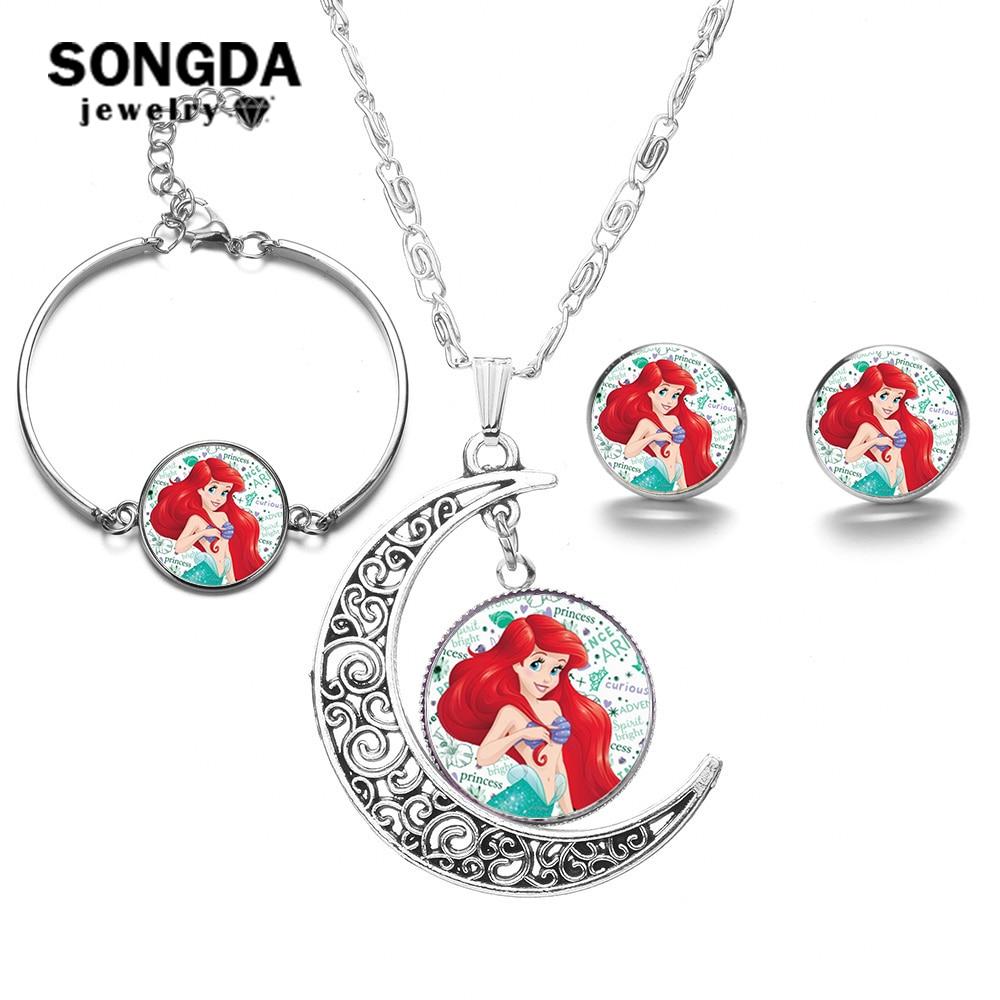 SONGDA lindos conjuntos de joyas de sirenas para bebé princesa Ariel pendientes pulsera Luna colgante collar conjunto accesorio de fiesta
