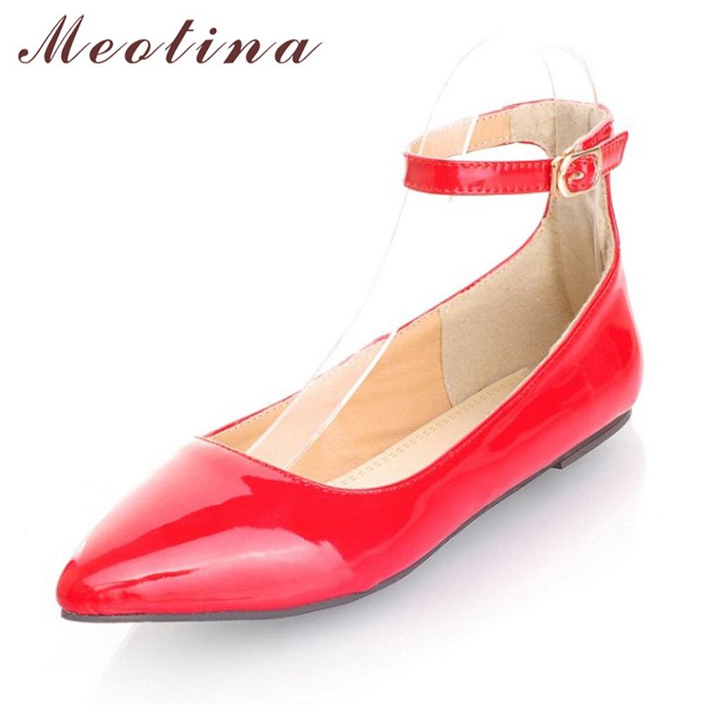 Zapatos de Ballet Meotina para mujer, zapatos planos con punta estrecha, correa en el tobillo, amarillo y azul de charol zapatos planos, tallas grandes 9 10 42