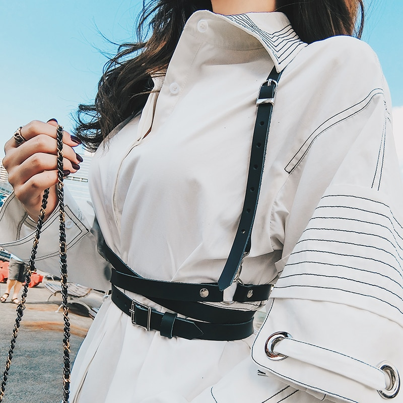 Chaleco tipo jaula de piel sintética para mujer, moldeador de cuerpo, pecho, cuerpo esculpido, arnés, Correa Punk Rock, cinturón de cintura hecho a mano